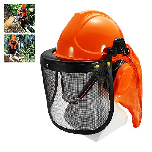Yingte Chain Saw Forestry Safety Helmet with Ear Defenders,Mesh Visor Earmuffs Face Shield Protection by Yingte (Image #1)