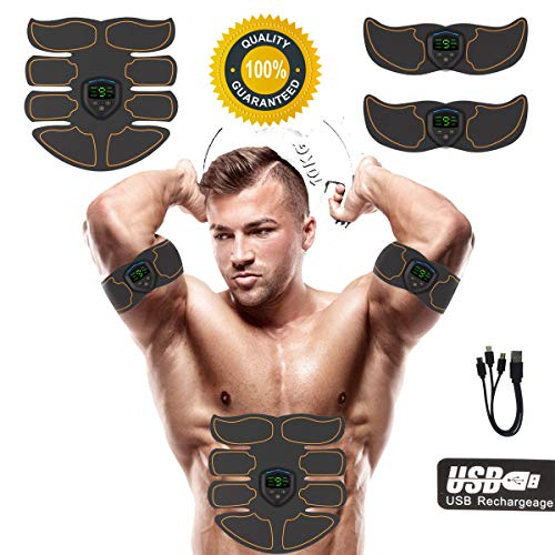JIRUN Abs Stimulator Ab Stimulator Rechargeable Muscle Toner Trainer Ultimate Abs Stimulator for Men Women Abdominal Work Out Ads Power Fitness Abs Muscle Training Gear ABS Workout Equipment Portable