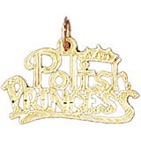 14K Yellow Gold Polish Princess Pendant Necklace - 18 mm