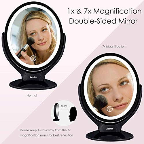 Double Sided LED Makeup Mirror with Lights, Lighted Makeup Vanity Mirror 1x/7x Magnification 360 Degree Rotatable with Touch Screen Dimming, Portable USB Chargeable Cosmetic Magnifying Mirrors (Black)