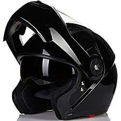 ILM 8 Colors Motorcycle Modular Flip up Dual Visor Helmet DOT (M, Gloss Black)