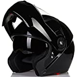 ILM 8 Colors Motorcycle Modular Flip up Dual Visor Helmet DOT (L, Gloss Black)