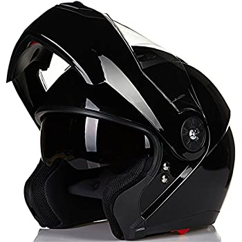 ILM 8 Colors Motorcycle Modular Flip up Dual Visor Helmet DOT (XXL, Gloss Black)