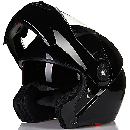 ILM 8 Colors Motorcycle Modular Flip up Dual Visor Helmet DOT (XL, Gloss Black)