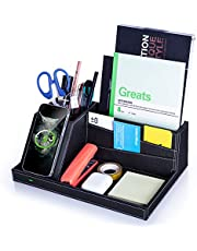 $29 » Desk Organizer with Charging Station, Multifunctional Desktop Organizer All in One Office Supplies and Desk Accessories Organizer with 4 Compartments and 1 Phone Stand for Home & Office -Black