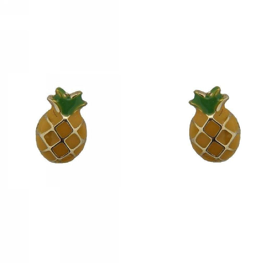 6mm X 4mm 18K YG Pineapple Earring wi// covered Screwbacks