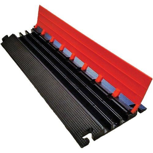 Elasco LG3125 Lite Guard Cable Guard/Management, Light Duty, Triple Channel, 1-1/4'' Channels, 14,000 lb. per Tire Load Capacity, 37'' x 13'' x 1.75'', Orange/Black