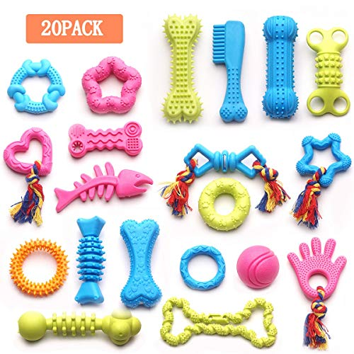 YUNKINGDOM 20 Pack Rubber Ball Tug Squeaky Teething Dog Toys,Durable Dog Chew Toys for Puppies and Small Dogs