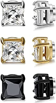Jstyle 3 Pairs Stainless Steel Mens Womens Magnetic Stud Earrings Non-piercing CZ 4-10mm