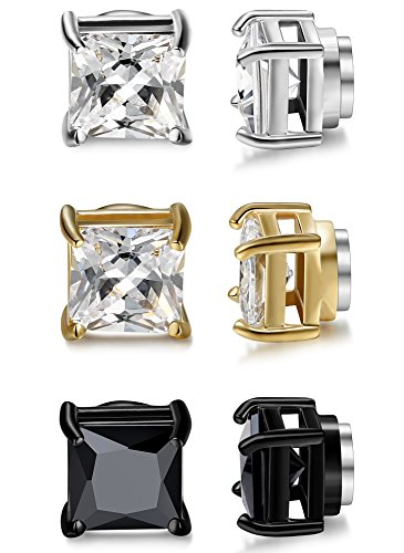 Jstyle 3 Pairs Stainless Steel Mens Womens Magnetic Stud Earrings Non-piercing CZ 6mm