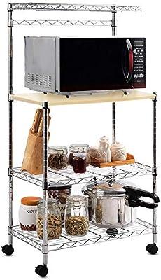 Carro estantería Cocina Mueble Horno microondas estantería Acero ...