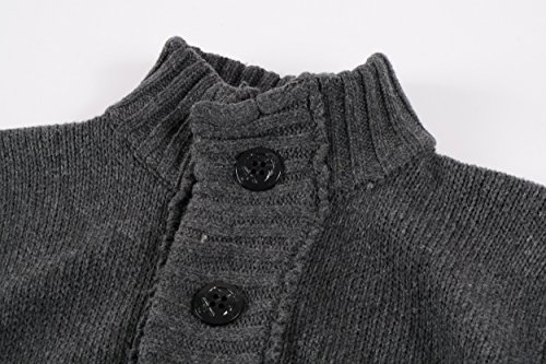 57099f47d0 Men s Button Point Stand Collar Knitted Slim Fit Cardigan Sweater (M ...