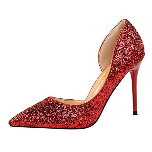 Challeng Creuses blanc Chaussures Talons gris or Hauts À noir argent Foncé Féminine rouge Fine Rose Sandales chaussures Avec Plates mode or Rouge Des Paillettes bleu escarpins rr0wP