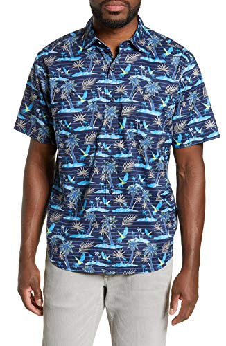(Tommy Bahama Isle of Palms Stretch Camp Shirt (Color: Monaco Blue, Size L))