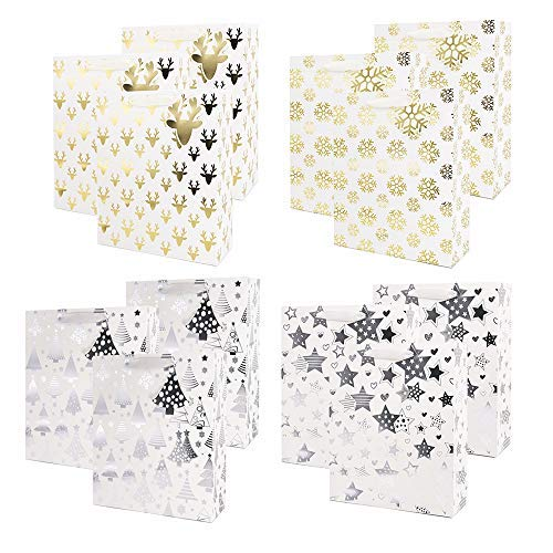 UNIQOOO 12Pcs Premium Assorted Gold/Silver Metallic Christmas Gift Bags Bulk, 12½