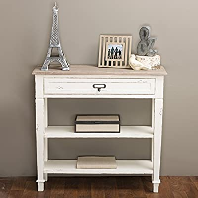 Baxton Studio Dauphine Traditional French 1-Drawer Accent Console Table, White - Traditional French accent console table One drawer and two shelves provide functional storage spaces Constructed with MDF frame in distressed white finishing - living-room-furniture, living-room, console-tables - 51XJK5MmJFL. SS400  -