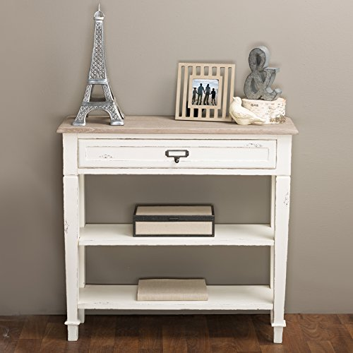 C/c Rustic Pull Distressed (Baxton Studio Dauphine Traditional French 1-Drawer Accent Console Table, White)