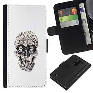 NEECELL GIFT forCITY // Billetera de cuero Caso Cubierta de protección Carcasa / Leather Wallet Case for LG G3 // Cráneo cinta Casette