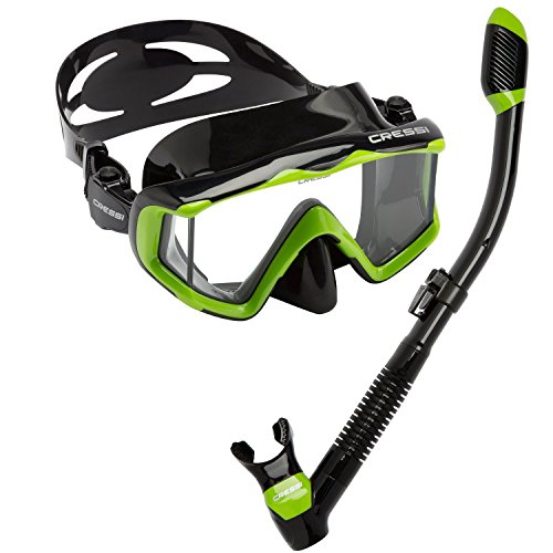 Cressi Panoramic Wide View Mask Dry Snorkel Set, Lime Green/Black Silicone Dry Snorkel Black Silicone