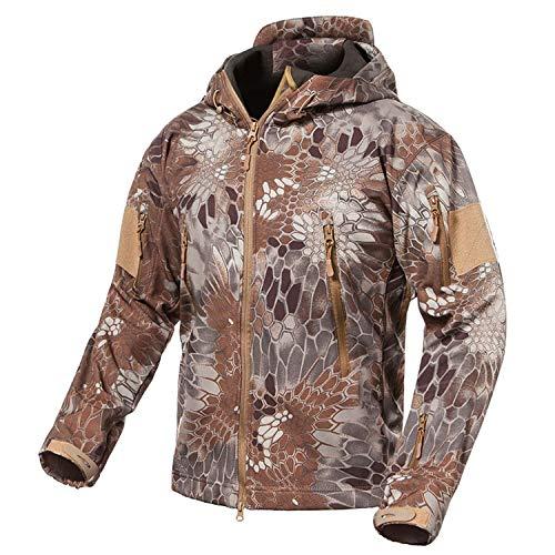 Shark Skin Soft Shell Military Jacket Men Waterproof Fleece Coat Army Clothes,Khaki Snake,XS