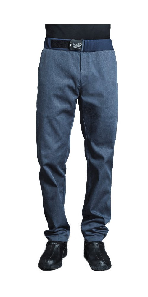 SIROCCO Mens Culinary Chef Pants Food Service Pants with I-Belt by Clement Design (T0 - US 28-30, Denim)
