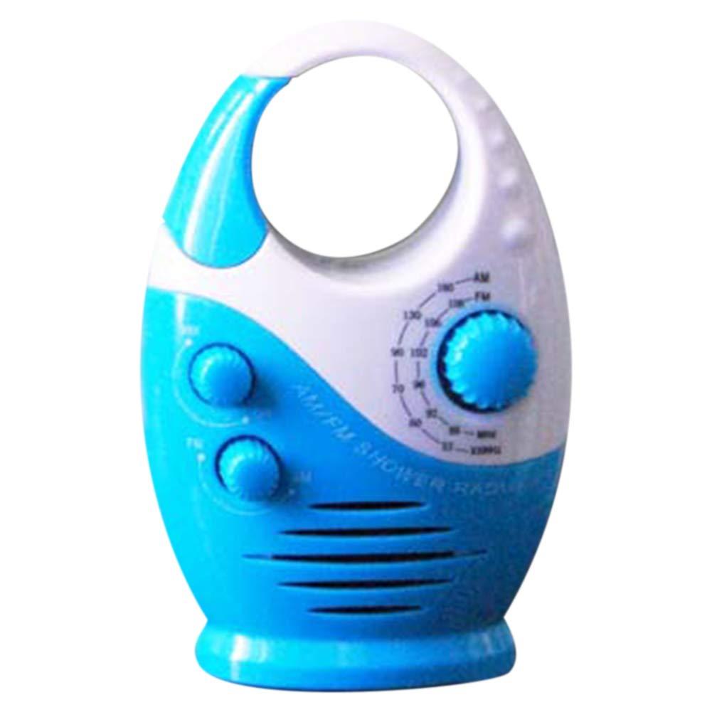 Impermeable Ducha Radio White-And-Blue Tama/ño Libre Antisalpicaduras Am//Fm Radio con Funci/ón de Altavoz y Ajustable Volumen para The Ba/ño