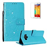 Funyye Shiny Sparkle Case for Samsung Galaxy Note 9[with Free Screen Protector],Stylish [3D Shine Diamond Butterfly Embossing] Magnetic Closure Wallet Case with Credit Card Holder Ultra Thin Soft Silicone PU Leather Stand Function Smart Flip Case for Samsung Galaxy Note 9,Blue