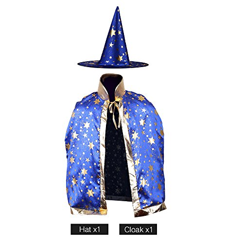 Blue Witch Costumes For Kids (Children Costumes Stars Style for Halloween and Christmas Sorcerer/Witch Costume with Hat and Cloak (Blue))