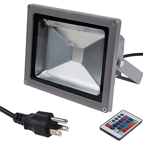 erproof Indoor Outdoor Flood Spot Light with RGB Remote, Ground Wire Connection, 4 Flashing Model and 16 Colors (20W) (Model Power Farmhouse)