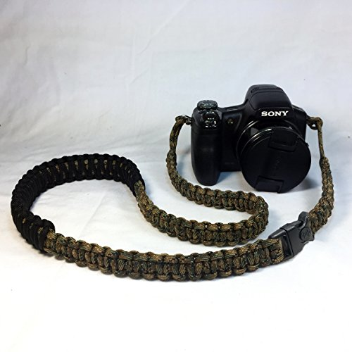 Tri Color Camo and Black Paracord 40 inch DSLR Digital Camera Neck Shoulder Safety Strap With Security ()