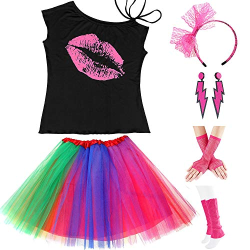 Womens 80s Accessories, I Love The 80's / 80s Pop/Sexy Lips Shoulder T-Shirt Outfit/Tutu Skirt/Neon Fanny Packs for 1980s Party Costume,S2,Lips,L -