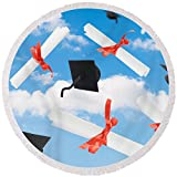 Pixels Round Beach Towel With Tassels featuring ''Graduation Caps And Scrolls'' by Amanda Elwell