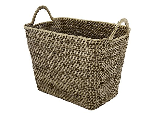 KOUBOO  Laguna Rectangular Storage Rattan Basket with Ear Handles, Honey-Brown
