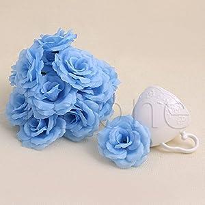 Lamdoo 20Pcs Roses Artificial Silk Flower Heads DIY Small Bud Party Wedding Home Decor Light Blue 90