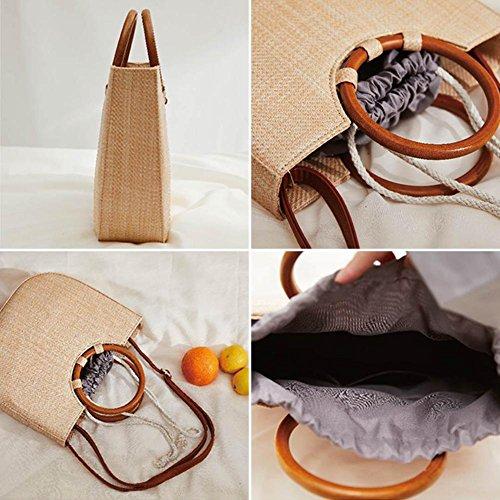 calidad de duradera de almacenamiento Bolsa con de para de bolsa Somedays de maciza playa hombro tejida con madera mensajero bolso SUHqxqfw