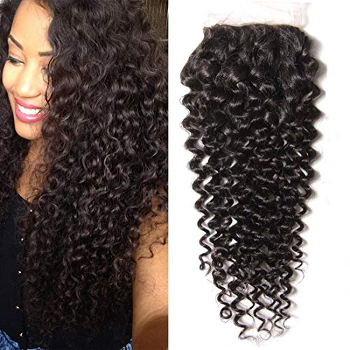 - Ali Julia Curly Hair Lace Closure 4x4 Free Part Indian Curly Hair 100% Unprocessed Human Hair Extensions 95-100g/pc Natural Black Color (Closure12)