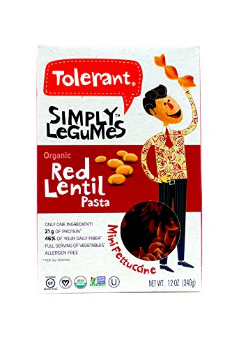 Tolerant Organic Red Lentil Mini Fettuccine 12 oz (340 grams) Box