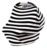 Black and White Baby Car Seat Canopy, Grocery Cart, Nursing Cover & Infinity Scarf with 4 in 1 Multi Use, Perfect Baby Shower Gifts