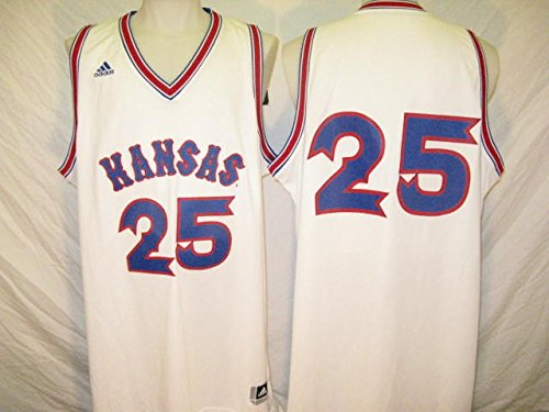 - Kansas Jayhawks White #25 XL 1988 Retro Twill Basketball Jersey