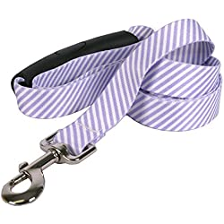 "Southern Dawg Seersucker Purple Dog Leash with Comfort Grip Handle-Large-1"" and 5' (60"") Made in the USA by Yellow Dog Design"