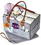 Bonne Vie Baby Diaper Caddy with Changing Pad | Nursery Table Storage Organizer | Large Portable Car Tote Bag for Wipes & Diapers | Boy Girl Baby Shower Gift Basket | Newborn Registry Must Haves