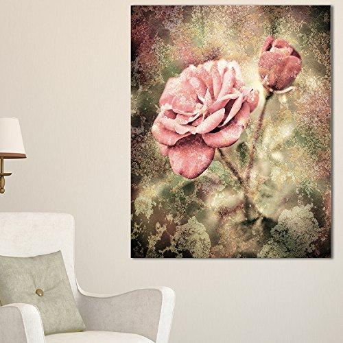 (Designart PT8293-12-20 Vintage Pink Roses with Water Drops Floral Canvas Art Print 20