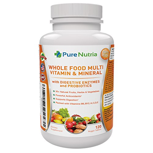 Whole Food MultiVitamin and Minerals with Probiotic Enzymes – 120 Multivitamins for Women and Men – Packed with WholeFood and Herbal Ingredients – Powerful Antioxidants for Digestive Support