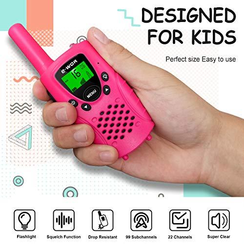 Walkies Talkies for Kids, 22 Channels FRS/GMRS UHF Two Way Radios 4 Miles Handheld Mini Kids Walkie Talkies for Boys Girls Best Gifts Kids Toys Built in Flashlight, Pink