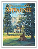 Pacifica Island Art Ahwahnee Hotel - Yosemite National Park - Vintage Style World Travel Poster by Kerne Erickson - Fine Art Print - 11in x 14in