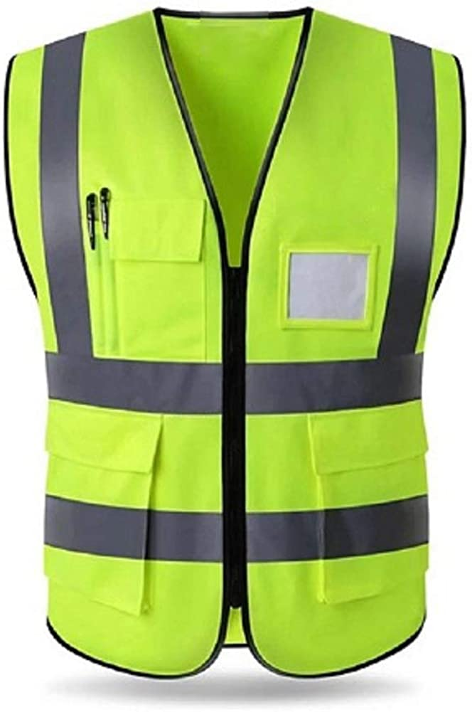 HYCOPROT High Visibility Reflective Safety Vest with Pockets and Zipper Front, Neon Yellow, Meets ANSI/ISEA Standards: Clothing