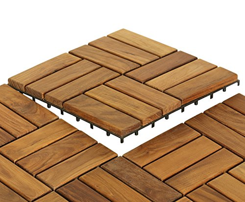 Bare Decor EZ-Floor in Solid Teak Wood, 1 TILE ONLY