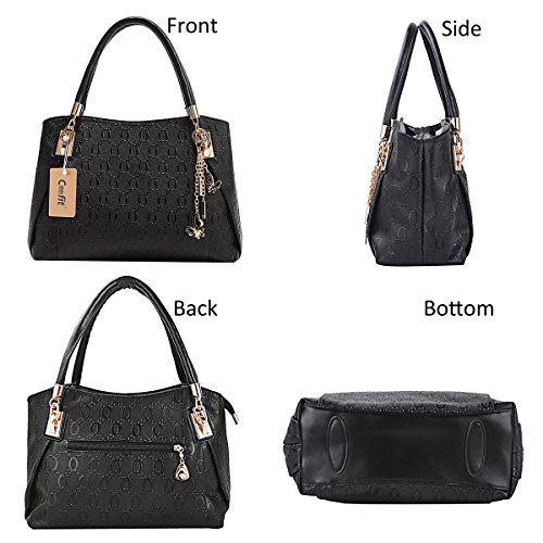 Ladies Handbags Messenger Bags for Leather Wallet Schwarz Shoulder PU Handbag Handbags Women Purse Coofit Satchel Tote wCTtxfq