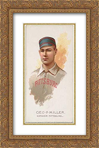 (Lindner, Eddy & Claus - 16x24 Gold Ornate Frame and Double Matted Museum Art Print - George F. Miller, Baseball Player, Catcher, Pittsburgh, from World's Champions, Series 2 (N29) for Allen & Ginter)