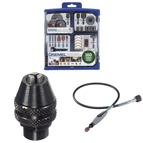 Dremel 710-08 160-Piece All-Purpose Rotary Accessory Kit with MultiPro Keyless Chuck and Flex Shaft Attachment